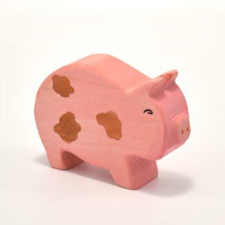 Figurina din lemn porc