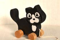 Jucarie de tras - pisica din lemn