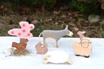 Figurine din lemn, animale ferma, set primavara