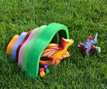 Dragon pestera si cavaler jucarii din lemn